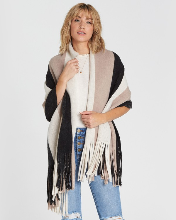 0 On The Fringes Striped Scarf Black JASCSBON Billabong