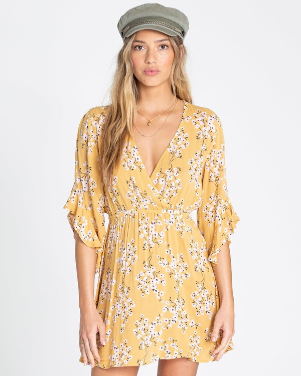 0 Love Light Mini Dress Yellow JD02TBLO Billabong