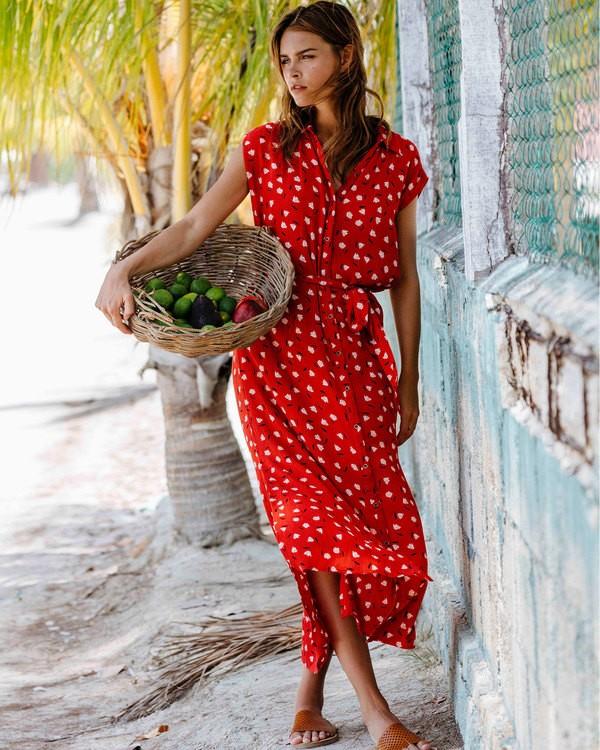 0 Little Flirt Maxi Dress Red JD04TBLI Billabong