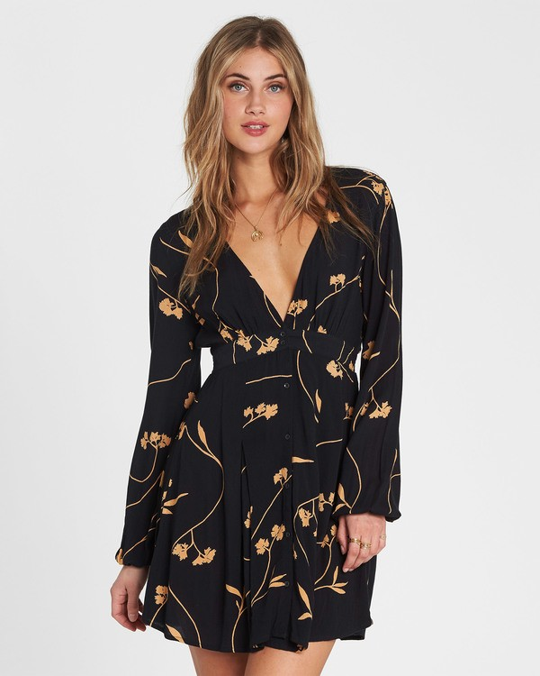 0 Your Love Long Sleeve Dress Black JD10SBYO Billabong