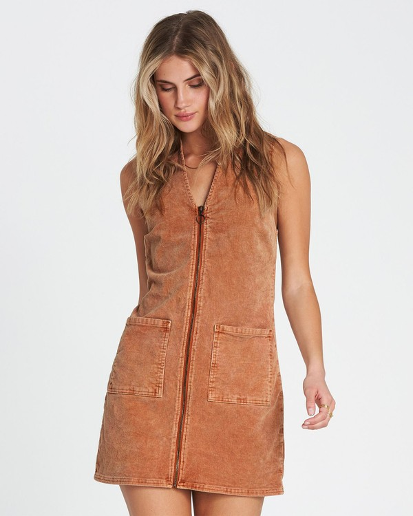 0 Foxy Corduroy Mini Dress Brown JD12SBFO Billabong