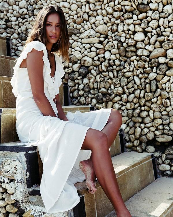 0 Romance Row Dress Beige JD18NBRO Billabong