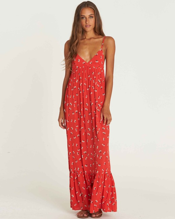 0 Flamed Out Maxi Dress Red JD22PBFL Billabong