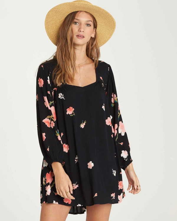 0 Beach Craze Long Sleeve Mini Dress Black JD28QBBE Billabong