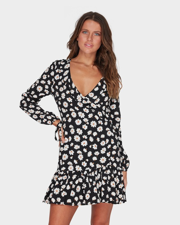 0 Margherita Wrap Mini Dress Black JD93TBMA Billabong