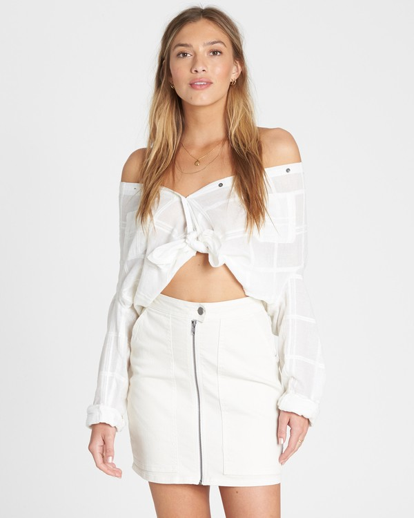 0 Ride Right Fitted Denim Skirt White JK03TBRI Billabong