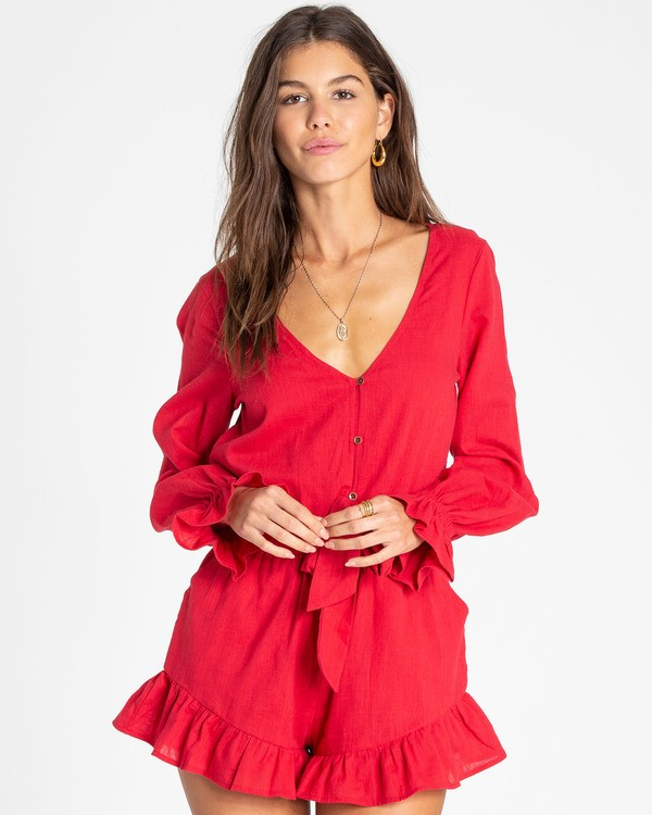 0 Play All Day Long Sleeve Romper Red JN04TBPL Billabong