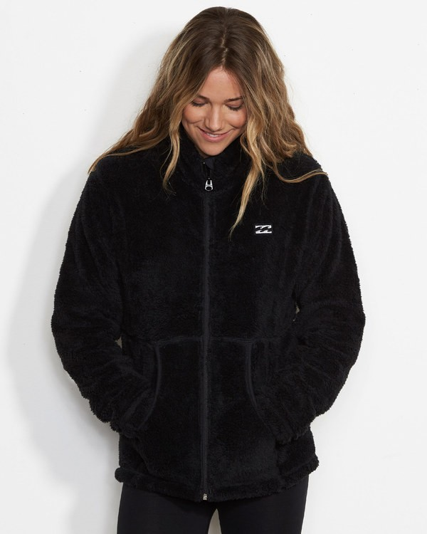0 Women's First Chair Zip Up Sherpa Fleece Black JSN6QFIR Billabong