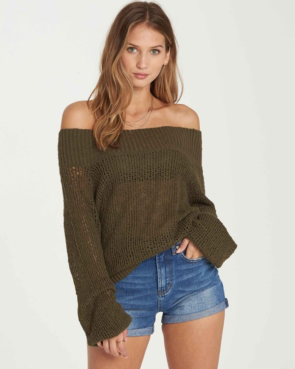 0 Rolled Up Off-The-Shoulder Sweater Green JV12QBRO Billabong