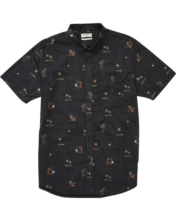 0 Boys' (2-7) Sundays Floral Short Sleeve Shirt Black K504TBSF Billabong
