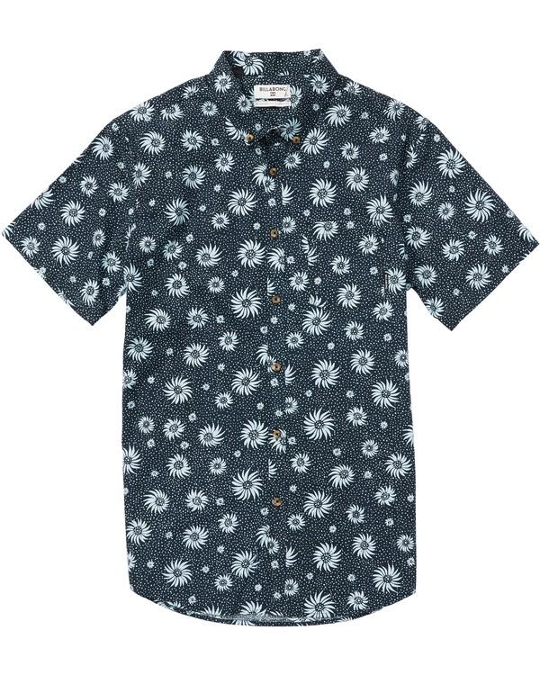 0 Kids' Sundays Mini Printed Short Sleeve Shirt Blue K505SBSM Billabong