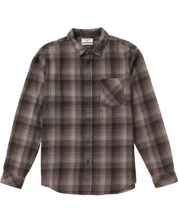 0 Kids' Freemont Plaid Flannel Shirt Grey K523SBFR Billabong