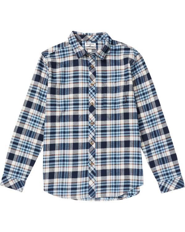 0 Kids' Coastline Plaid Flannel Shirt Blue K532SBCO Billabong