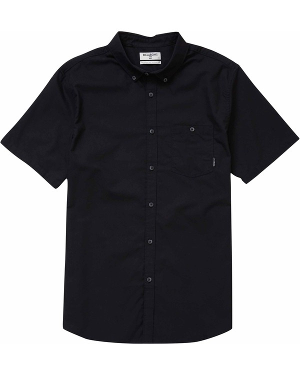 0 All Day Oxford Short Sleeve Shirt Black M501NBAO Billabong