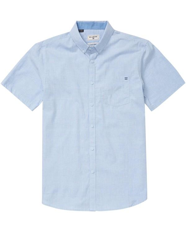 0 All Day Chambray Short Sleeve Shirt Blue M502GALL Billabong