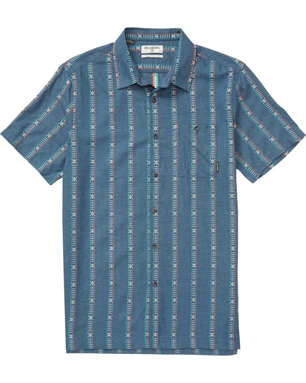 0 Sundays Jacquard Short Sleeve Shirt Blue M503QBSJ Billabong