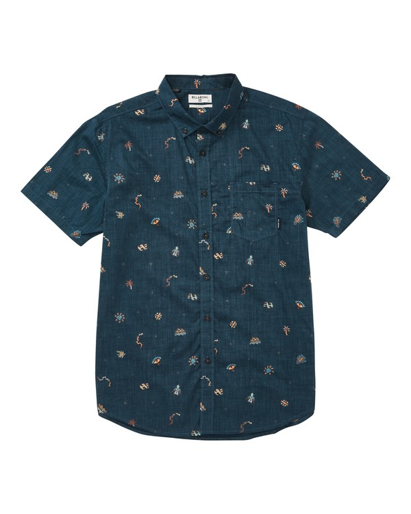 0 Sundays Mini Short Sleeve Shirt Blue M503TBSM Billabong