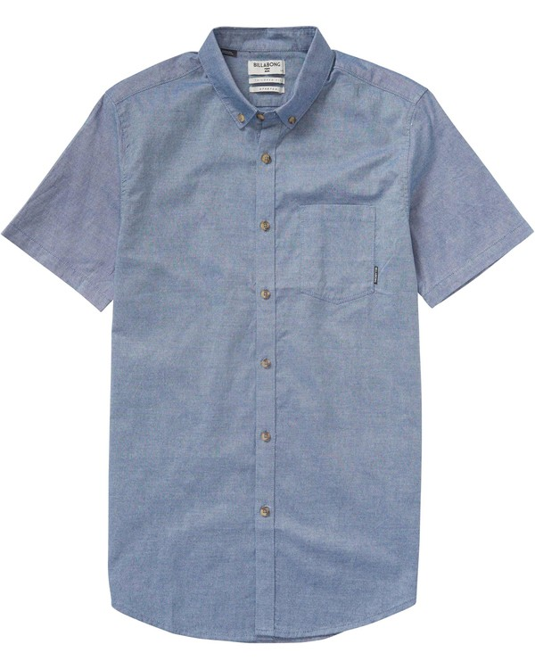 0 All Day Oxford Short Sleeve Shirt Blue M504KADO Billabong
