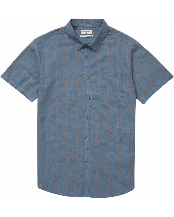 0 Sundays Jacquard Short Sleeve Shirt Blue M504NBSJ Billabong