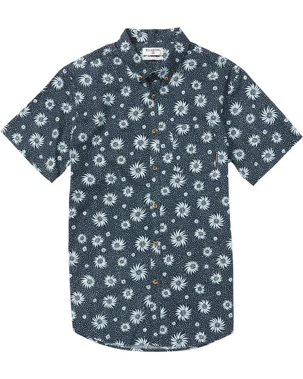 0 Sundays Mini Printed Short Sleeve Shirt Blue M505SBSM Billabong