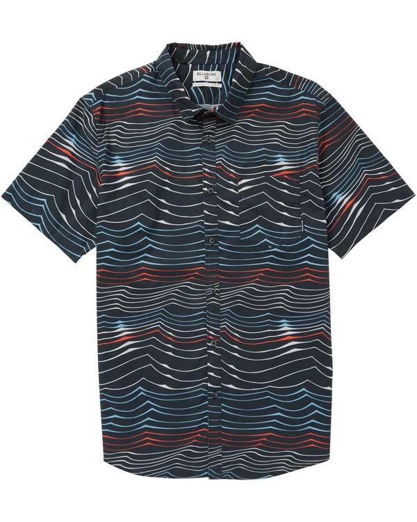 0 Sundays Lines Short Sleeve Shirt Blue M506PBSL Billabong