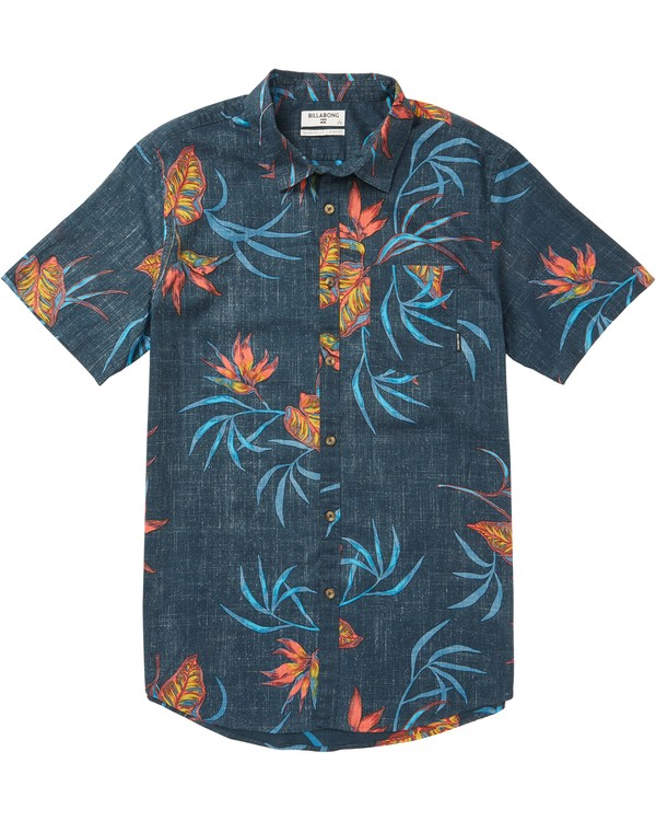 0 Sundays Floral Printed Short Sleeve Shirt Blue M506SBSF Billabong