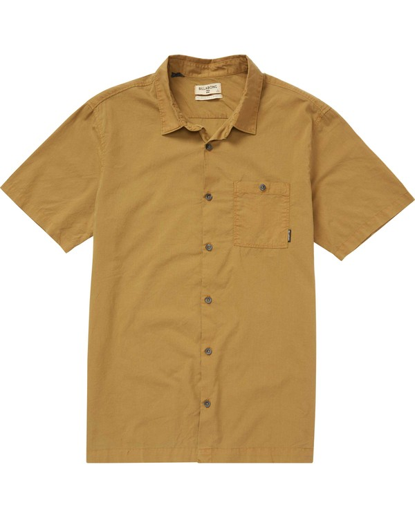 0 Wave Washed Short Sleeve Shirt Brown M509QBWW Billabong
