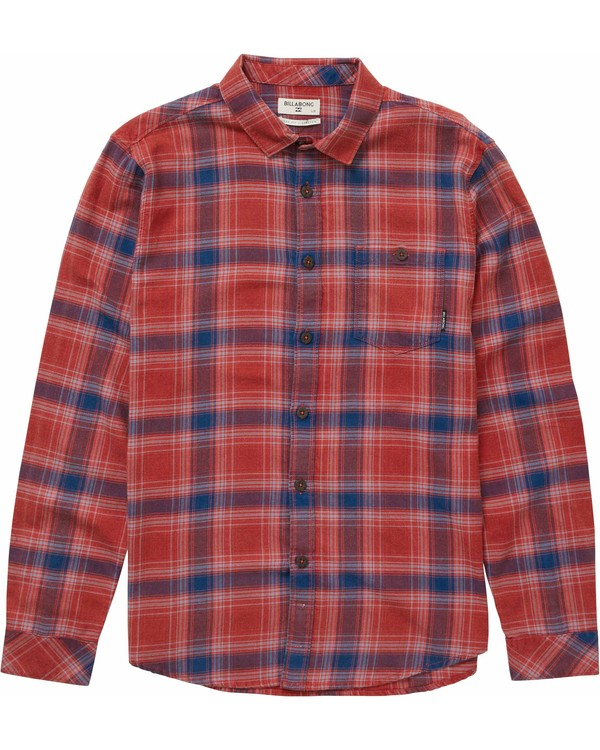 0 Freemont Long Sleeve Flannel Red M523NBFR Billabong