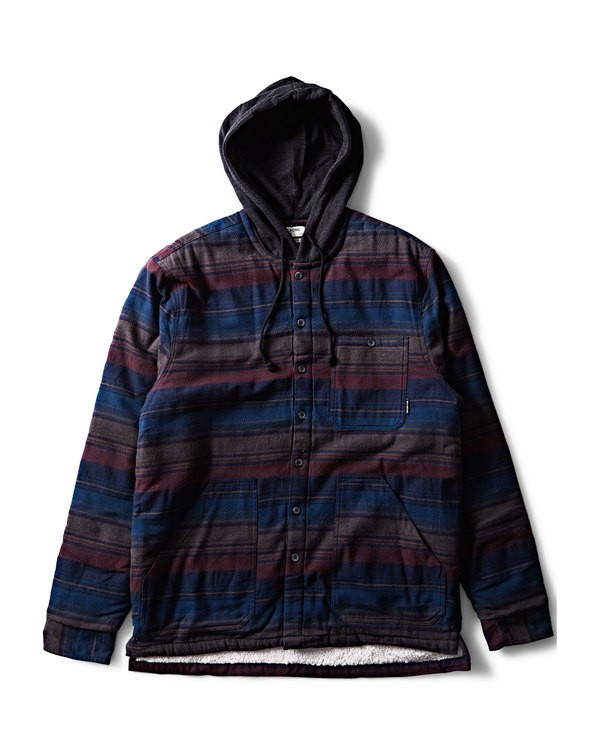 0 Baja Sherpa Hooded Flannel Shirt Blue M525SBBA Billabong