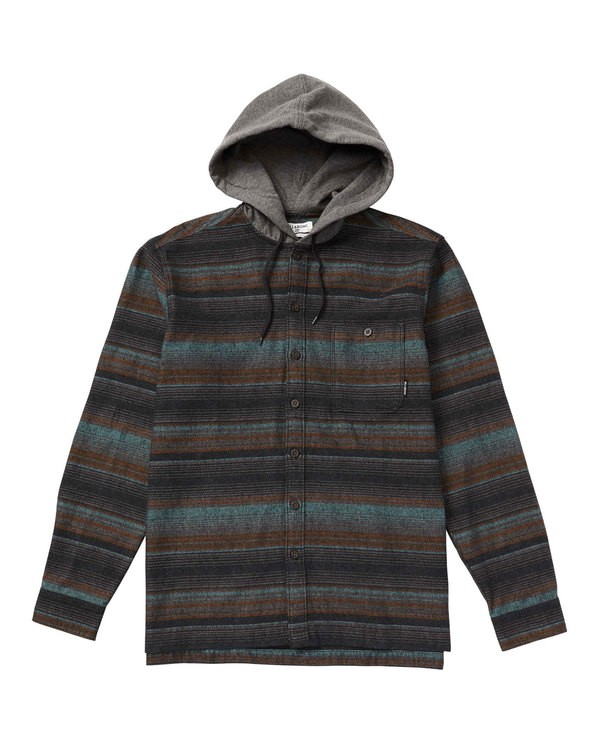 0 Baja Hooded Flannel Shirt Black M526SBBF Billabong