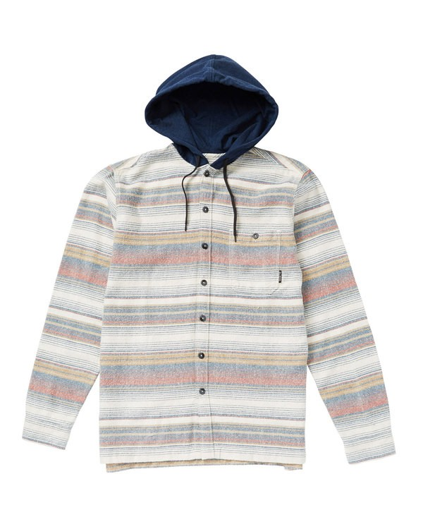 0 Baja Hooded Flannel Shirt Grey M526SBBF Billabong