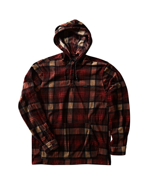 0 Furnace Anorak Polar Fleece Flannel Shirt Red M533SBFA Billabong
