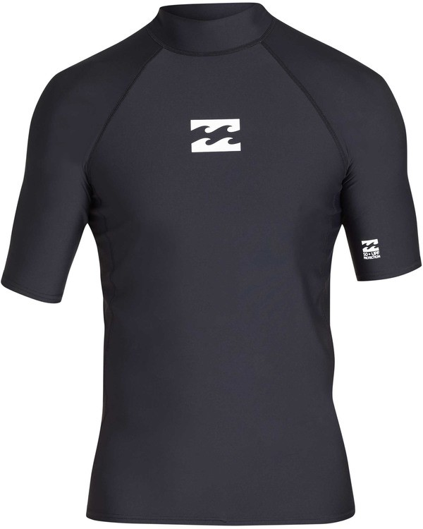 0 All Day Wave Performance Fit Short Sleeve Rashguard Black MR03TBAL Billabong
