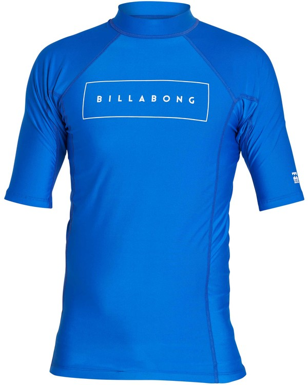 0 All Day United Performance Fit Short Sleeve Rashguard Blue MR12NBAU Billabong