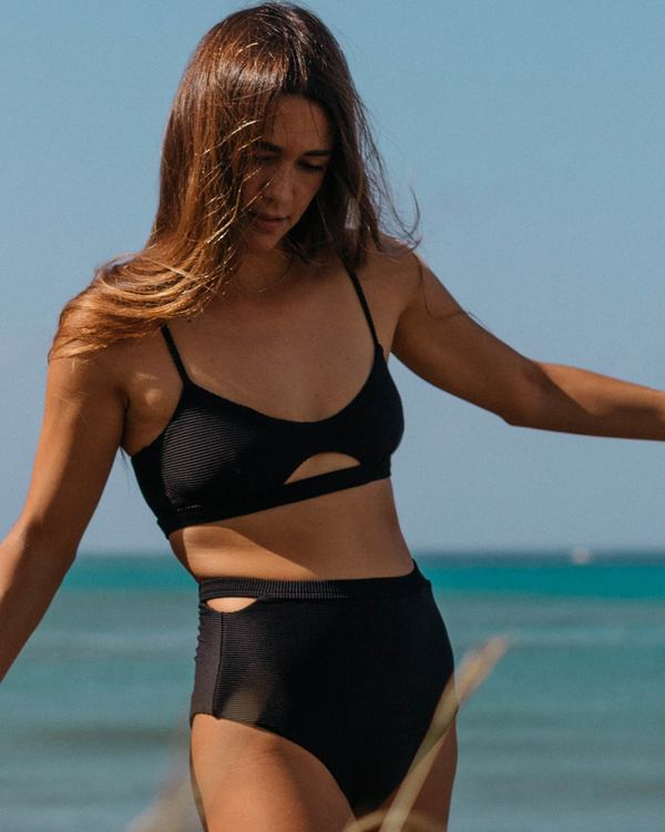 0 Tanlines Trilet Rib Knit Bikini Top Black XT21SBTA Billabong