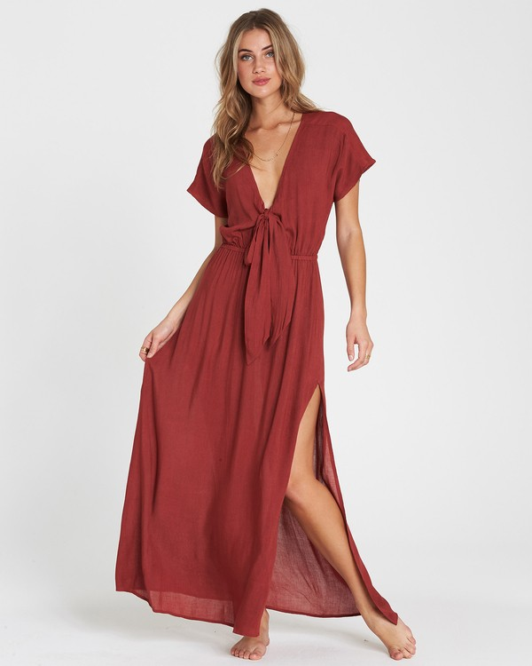 0 On The Sea Woven Cover Up Maxi Dress Red XV02SBON Billabong