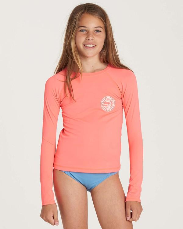 0 Girls' Sol Searcher Long Sleeve Rashguard Pink YR02NBSO Billabong