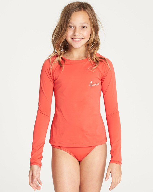 0 Girls' Sol Searcher Long Sleeve Rashguard Red YR02TBSO Billabong