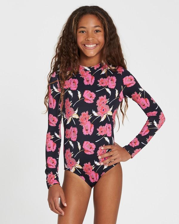 0 Girls' Floral Dawn Bodysuit Rashguard Black YR03SBFL Billabong