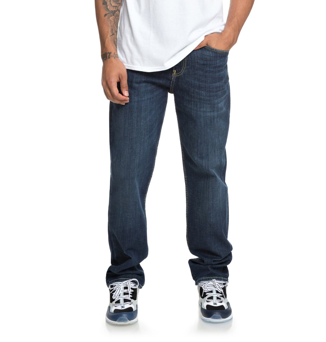 Medium DC Azul 0 Hombre Shoes corte de Worker relajado Stone EDYDP03381 Vaqueros para OPq6z5Pwn