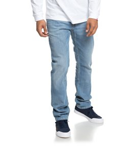 Worker Light Bleach Indigo Blue - Straight Fit Jeans for Men  EDYDP03374