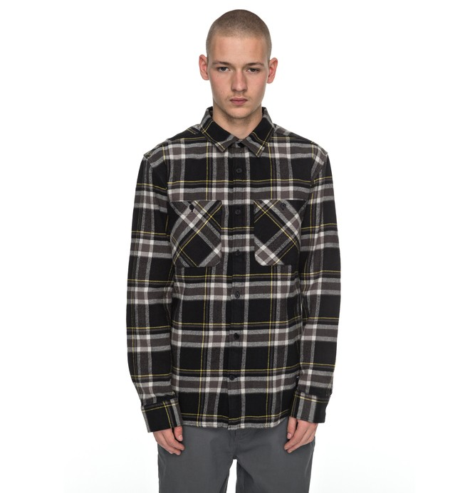 0 Men's Flannel Long Sleeve Shirt Black ADYWT03060 DC Shoes