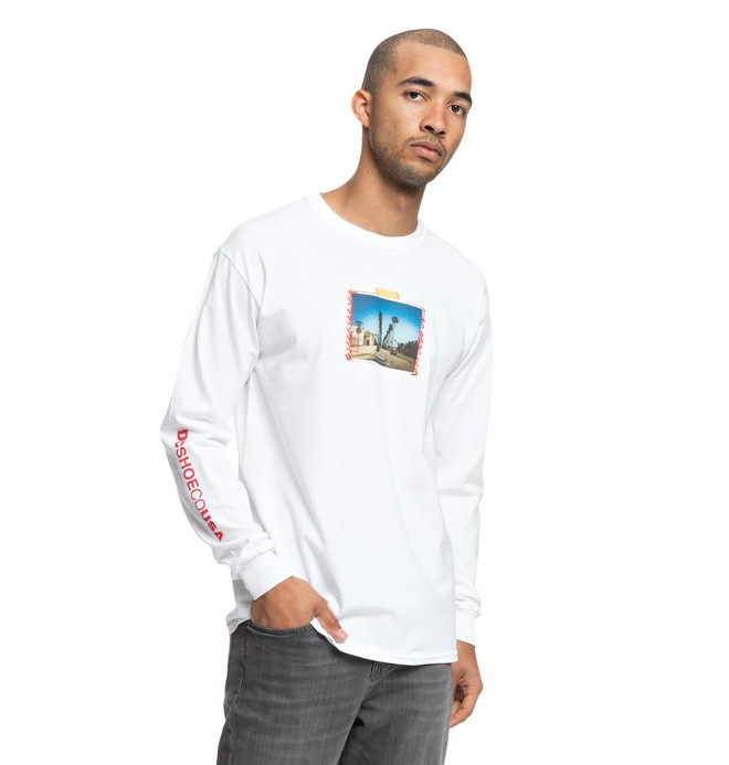 0 Men's DCLA Long Sleeve Tee White ADYZT04395 DC Shoes