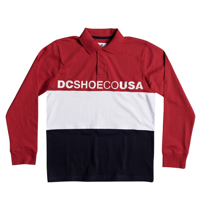0 Boy's 8-16 Stewardson Long Sleeve Polo Shirt Red EDBKT03095 DC Shoes