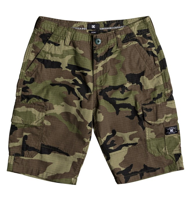 "0 Boy's 8-16 Ripstop 18.5"" Cargo Shorts Green EDBWS03018 DC Shoes"