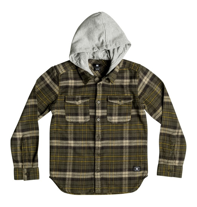 0 Boy's 8-16 Runnels Flannel Hooded Long Sleeve Shirt  EDBWT03018 DC Shoes