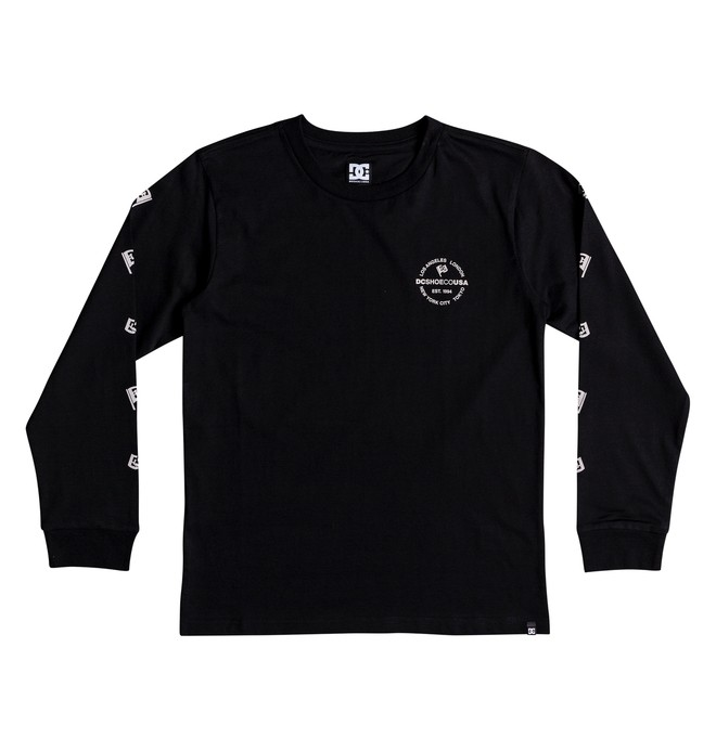 0 Boy's 8-16 Worldwide Flag Long Sleeve Tee Black EDBZT03303 DC Shoes