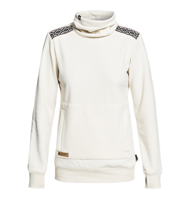 0 Women's Veneer Technical Roll Neck Sweatshirt White EDJFT03059 DC Shoes