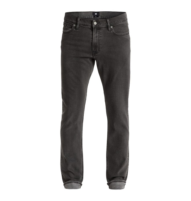 "0 Men's Washed Slim Fit Grey On Grey 34"" Jeans  EDYDP03169 DC Shoes"