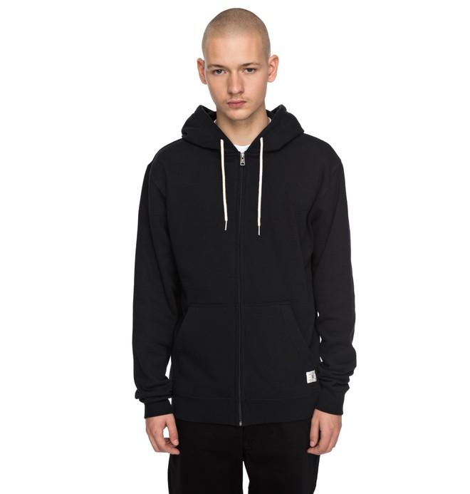 0 Men's Rebel Zipper Up Hoodie Black EDYFT03332 DC Shoes